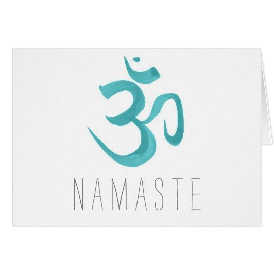 Teal Om Symbol Namaste Card