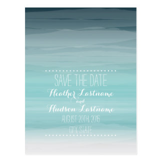 Teal Ombré Beach Wedding Save The Date Postcard