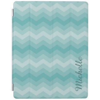 Teal Ombre Chevron Personalized iPad Cover