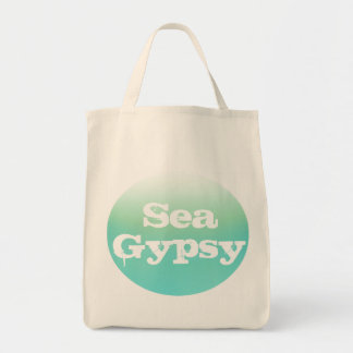 Teal Ombre Fade Sea Gypsy Mermaid Grocery Tote Bag