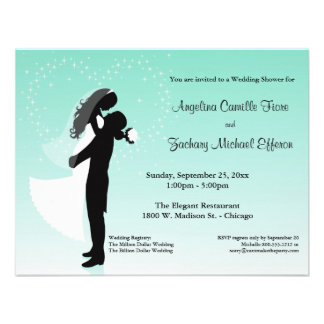 Teal Ombre Silhouette Formal Shower Invitation