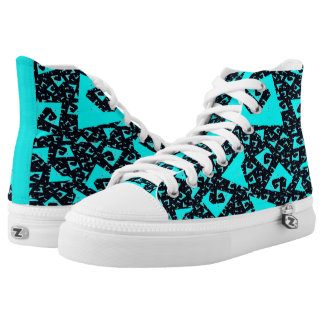 Teal On Black Funky High Tops