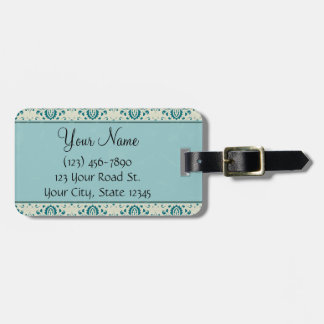 Teal on Cream Damask with Stripes and Monogram Luggage Tag