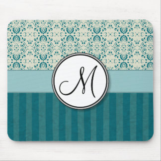 Teal on Cream Damask with Stripes and Monogram Mouse Pad