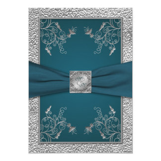 Teal on FAUX Pewter Monogram Wedding Invite
