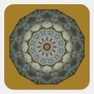 Teal On Gold Mandala Square Sticker