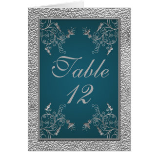 Teal on Pewter Table Number Card