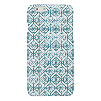Teal on White Ethnic Pattern, Flowers, Chevrons iPhone 6 Plus Case