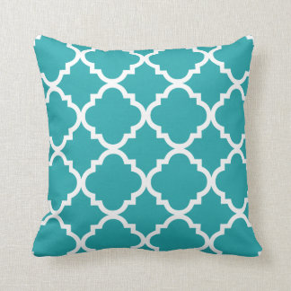 Teal or ANY COLOR White Quatrefoil Throw Pillow