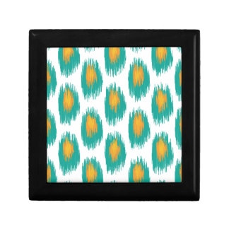 Teal Orange Abstract Tribal Ikat Circle Pattern Small Square Gift Box