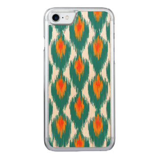 Teal Orange Abstract Tribal Ikat Diamond Pattern Carved iPhone 8/7 Case