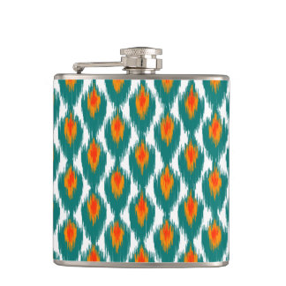 Teal Orange Abstract Tribal Ikat Diamond Pattern Hip Flask