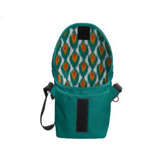 Teal Orange Abstract Tribal Ikat Diamond Pattern Messenger Bag