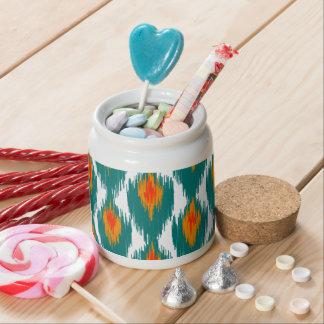 Teal Orange Abstract Tribal Ikat Diamond Pattern Candy Dish