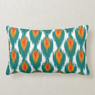 Teal Orange Abstract Tribal Ikat Diamond Pattern Throw Cushions