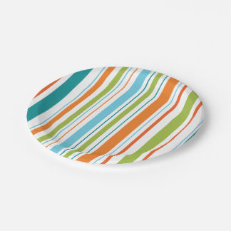 Teal, Orange and Green Stripe Paper Plates