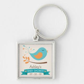 Teal & Orange Bird on Branch Baby Shower Key Chain