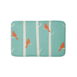 Teal Orange Birds Birch Trees Bath Mats