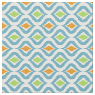 Teal Orange Green Retro Chic Ikat Drops Pattern Fabric