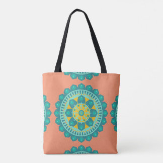 Teal & Orange Mandala Patterned Tote Bag