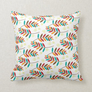 Teal, Orange, Red, Brown Fall Leaf Pattern Cushion