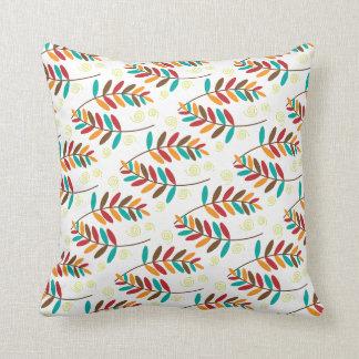 Teal, Orange, Red, Brown Fall Leaf Pattern Throw Pillow