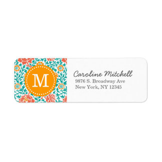 Teal & Orange Retro Floral Damask Custom Monogram