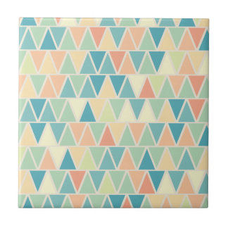 Teal Orange Triangle Pattern Tile