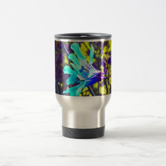 teal orchid purple yellow sky cool flower travel mug