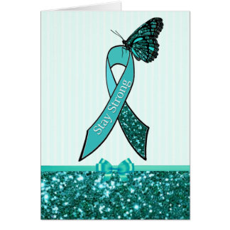 Teal Ovarian Cancer Awareness Ribbon Support Card
