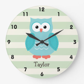 Teal Owl on Pastel Green Stripes Large Clock