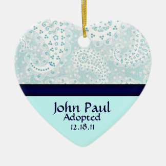 Teal Paisley Adoption Announcement Ornament