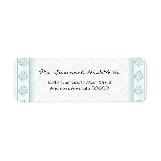 Teal Paisley Damask Address Label