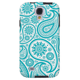 Teal Paisley Floral Pattern Galaxy S4 Case
