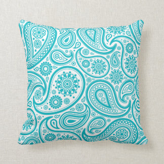 Teal Paisley Floral Pattern Pillow