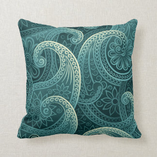 Teal Paisley Timeless Pattern Cushion