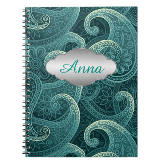 Teal Paisley Timeless Pattern Personalized Notebook