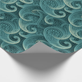 Teal Paisley Timeless Pattern Wrapping Paper