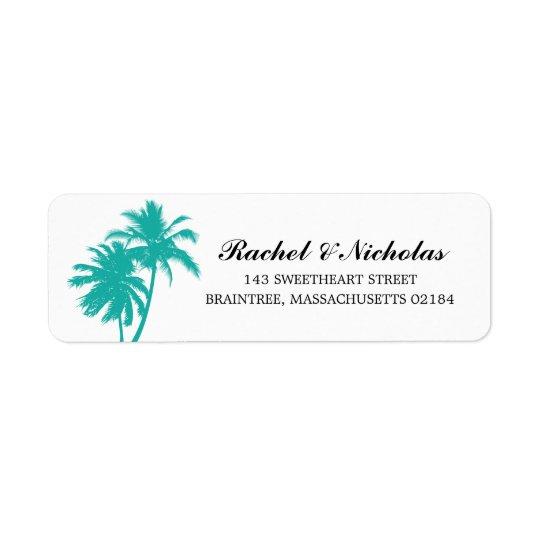 Teal Palm Tree | Return Address Return Address Label