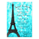 Teal Paris Bokeh Glitter Lights Sweet 16 Card