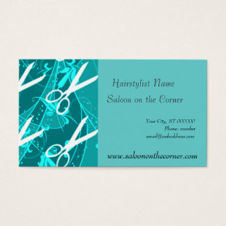Teal Pastel Retro Fashion Fantasy Scissors Business Card