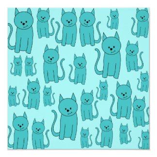 Teal Pattern of Cute Cats. 13 Cm X 13 Cm Square Invitation Card
