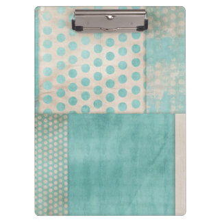 Teal Pattern Quilt Blocks Clipboard