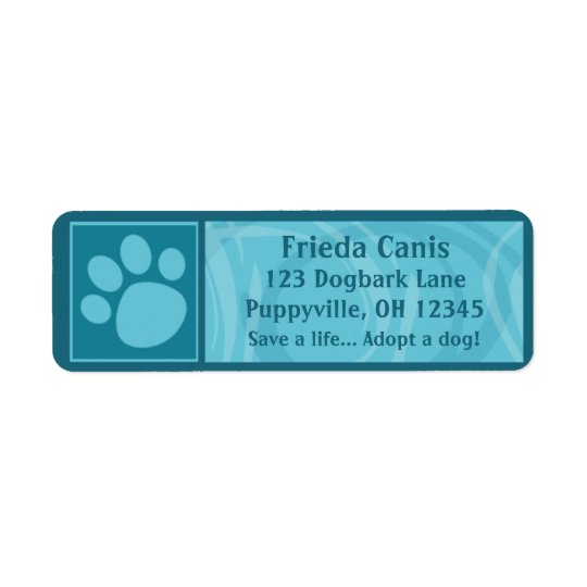 Teal Paw Print Address Labels