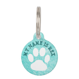 Teal Paw Print Name Tag and Phone Number