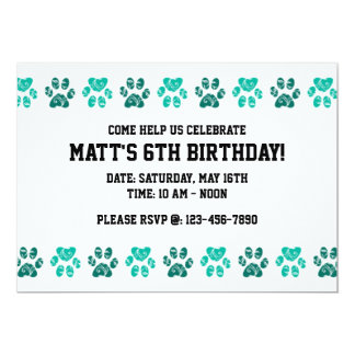 Teal Paw Print Pattern in Teal - Birthday 13 Cm X 18 Cm Invitation Card