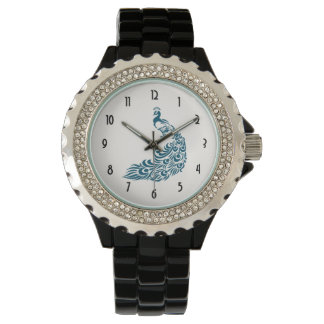 Teal Peacock Bold Stylish Art Deco Design Watch