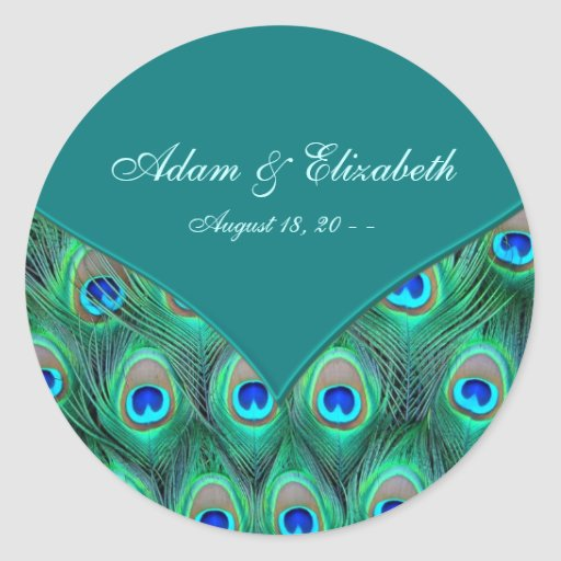 Teal Peacock Elegant Peacock Wedding Favor Label Round Stickers