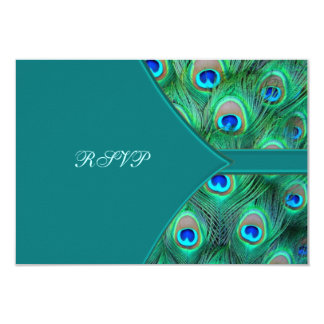 Teal Peacock Elegant Peacock Wedding RSVP 9 Cm X 13 Cm Invitation Card