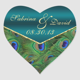 Teal Peacock Envelope Seal Heart Sticker